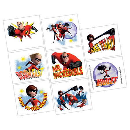 Incredibles 2 Temp Tattoos