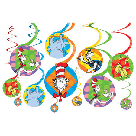 Dr Seuss Hanging Swirl Decorations