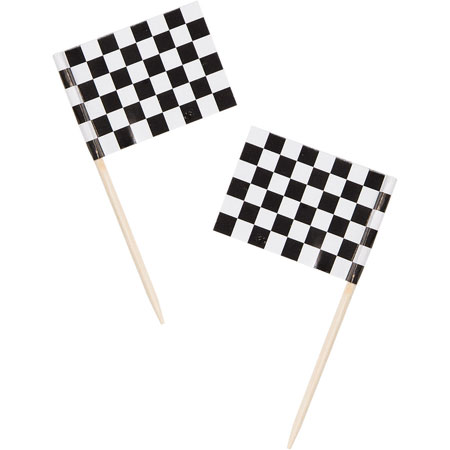 Black & White Checkered Flag Picks 50pk