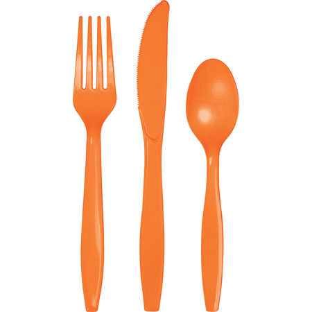 Solid Sunkissed Orange Cutlery Assortment 24Pk