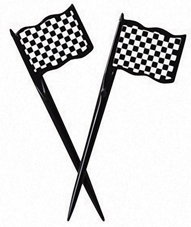 Black & White Race Flag Plastic Picks 12pk