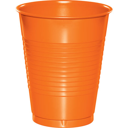 Solid Sunkissed Orange 16oz Plastic Cups 20pk