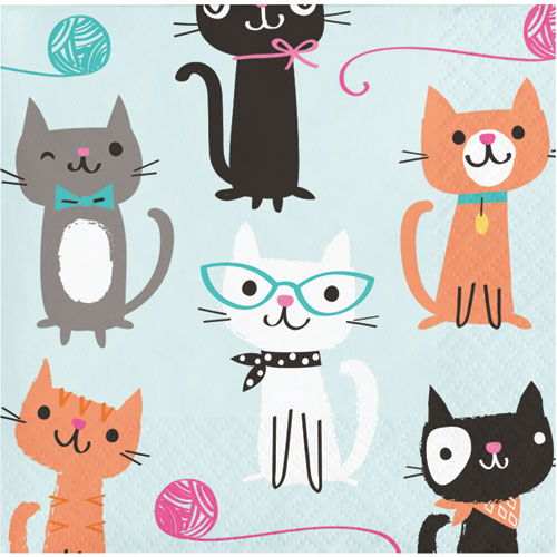 PurrFect Party Beverage Napkins 16pk