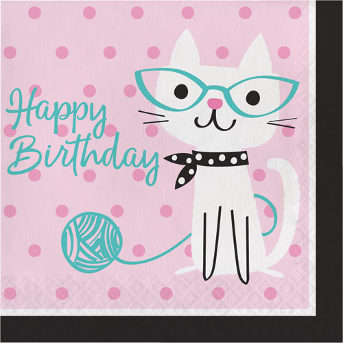 PurrFect Party Birthday Lunch Napkins 16pk