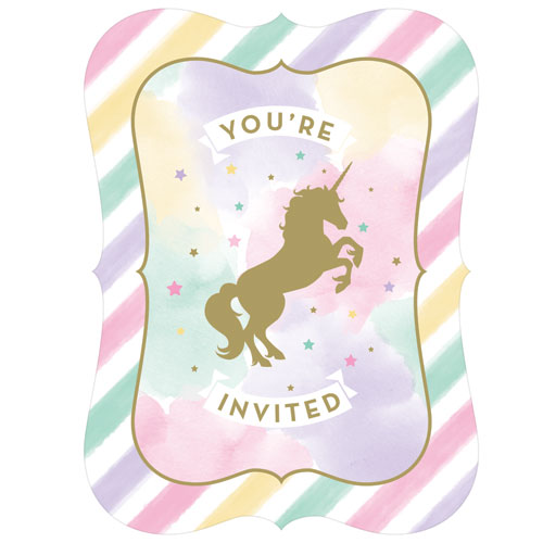 Unicorn Sparkle Party Invitations 8pk