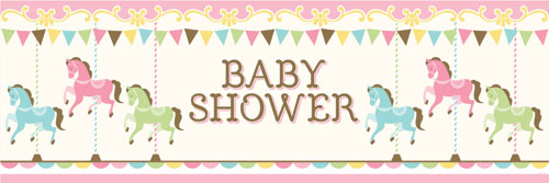 Carousel Baby Shower Party Banner