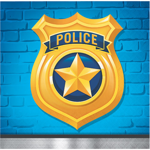 Police Party Beverage Napkins 16pk