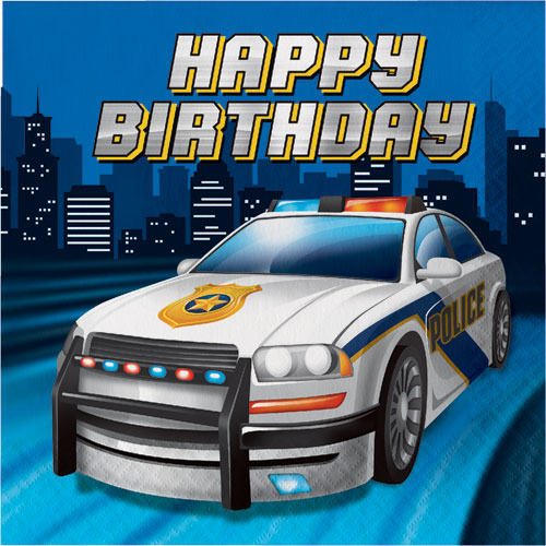 Police Party Birthday Lunch Napkins 16pk