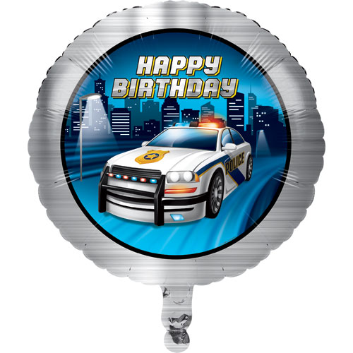 Police Party Happy Birthday Foil Balloon