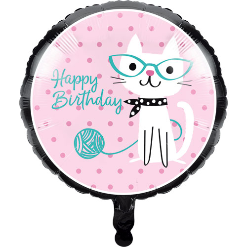 PurrFect Party Happy Birthday Foil Balloon