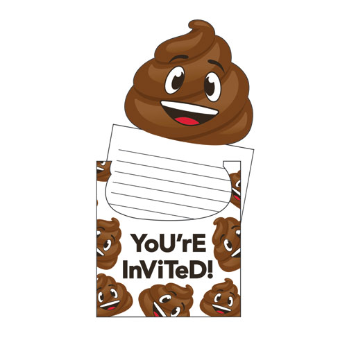 Emojions Poop Party Invitations 8pk