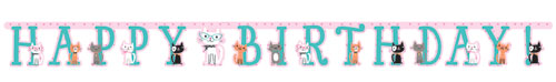 PurrFect Party Jointed Birthday Banner