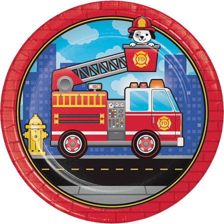 Flaming Fire Truck Dinner Plates 8pk