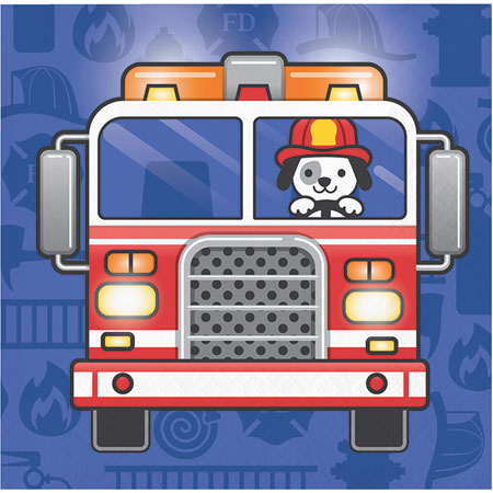 Flaming Fire Truck Beverage Napkins 16pk