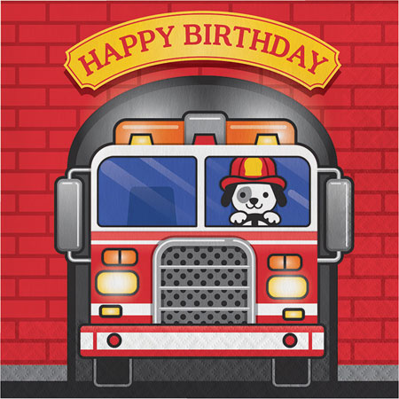 Flaming Fire Truck Birthday Lunch Napkins 16pk