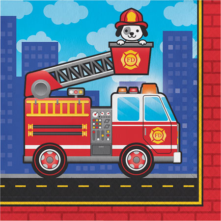 Flaming Fire Truck Lunch Napkins 16pk