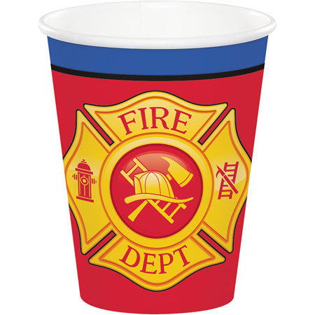 Flaming Fire Truck 9oz Cups 8pk