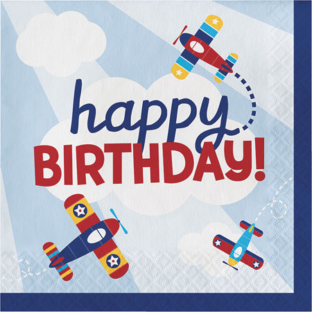 Lil Flyer Airplane Birthday Lunch Napkins 16pk