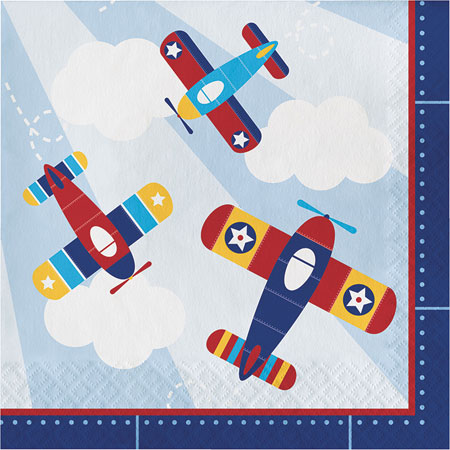 Lil Flyer Airplane Lunch Napkins 16pk