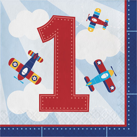 Lil Flyer Airplane 1st Birthday Lunch Napkins 16pk