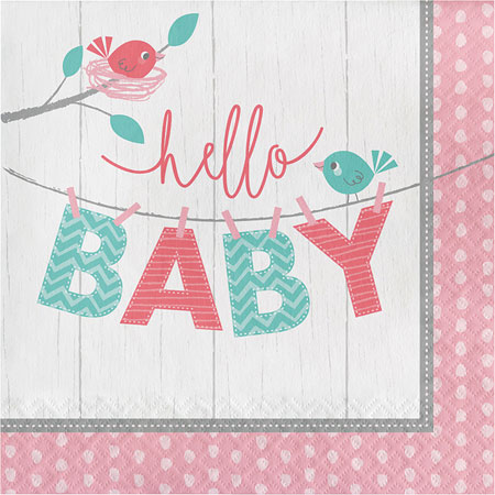 Hello Baby Girl Lunch Napkins 16pk