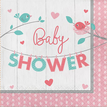 Hello Baby Girl Baby Shower Lunch Napkins 16pk