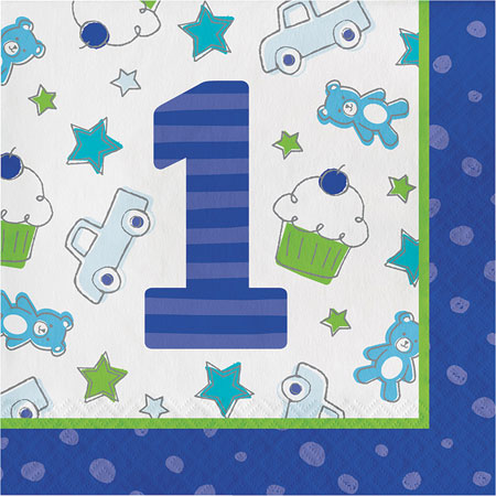 Doodle 1st Birthday Boy Lunch Napkins 16pk