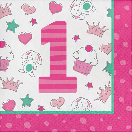 Doodle 1st Birthday Girl Lunch Napkins 16pk