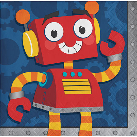 Party Robots Beverage Napkins 16pk