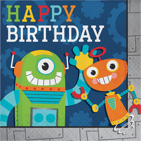 Party Robots Birthday Lunch Napkins 16pk