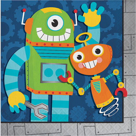 Party Robots Lunch Napkins 16pk