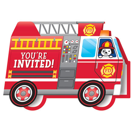 Flaming Fire Truck Shaped Invitations 8pk