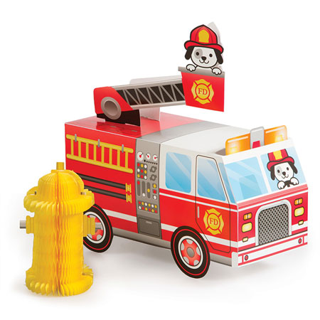 Flaming Fire Truck Centerpiece