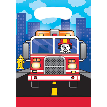 Flaming Fire Truck Loot Bags 8pk