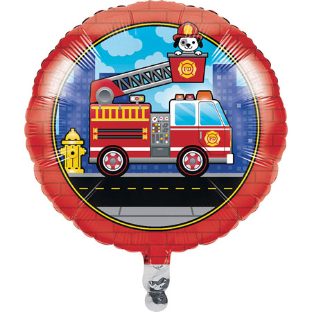 Flaming Fire Truck Metallic Balloon