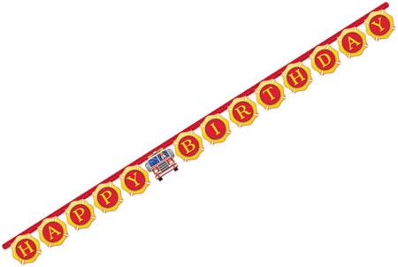 Flaming Fire Truck Jointed Banner