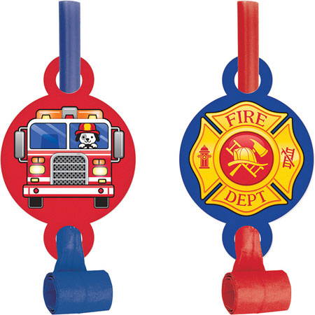 Flaming Fire Truck Blowouts 8pk