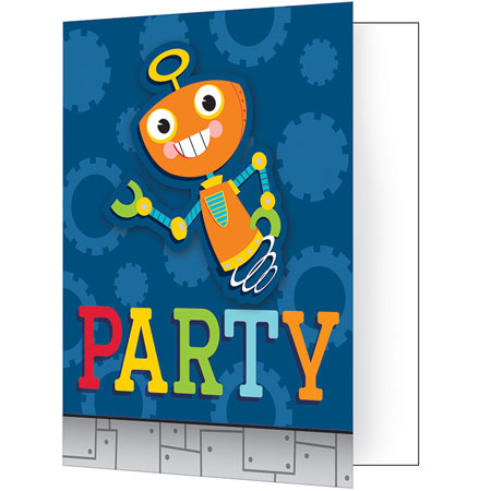 Party Robots Invitations 8pk