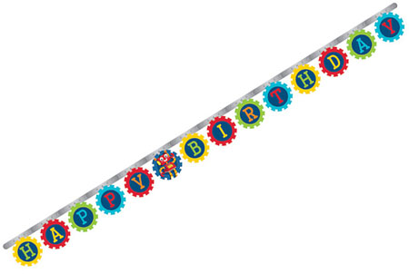 Party Robots Jointed Birthday Banner