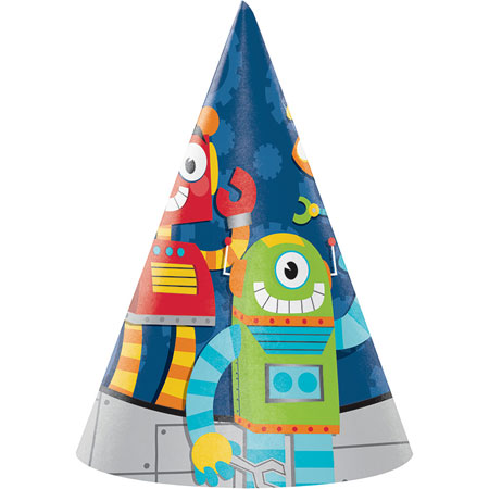 Party Robots Child Hats 8pk