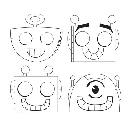 Party Robots Color Your Own Masks 8pk