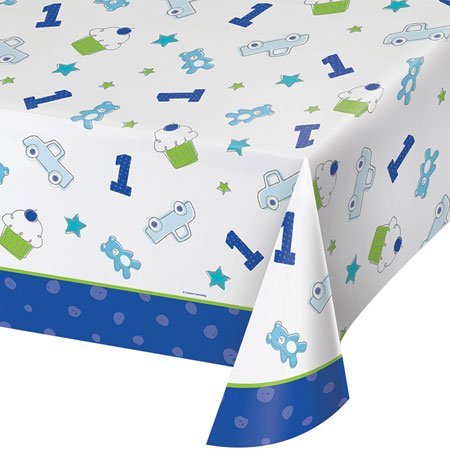Doodle 1st Birthday Boy Plastic Tablecover