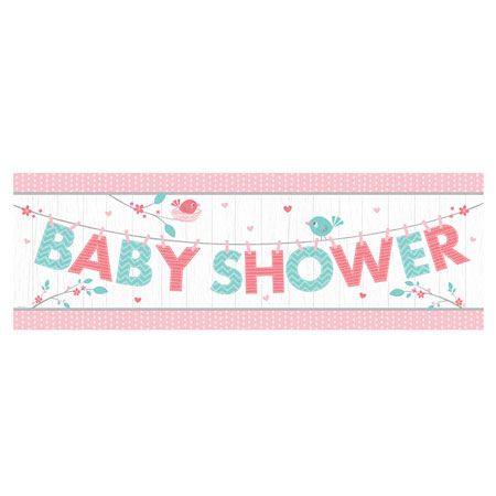 Hello Baby Girl Giant Baby Shower Party Banner