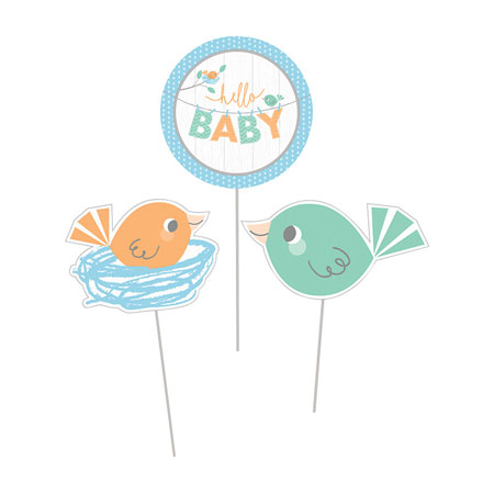 Hello Baby Boy Centerpiece Sticks