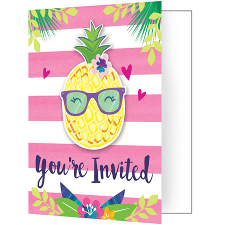 Pineapple N Friends Party Invitations 8pk