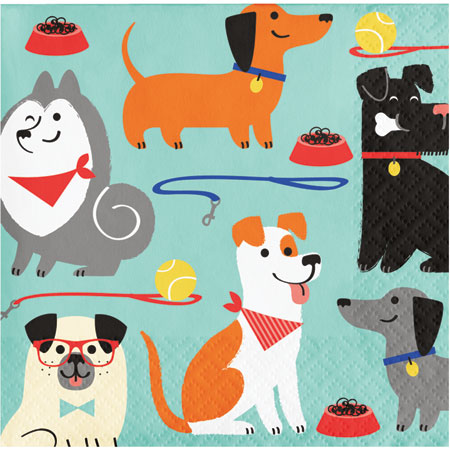 Dog Party Beverage Napkins 16pk
