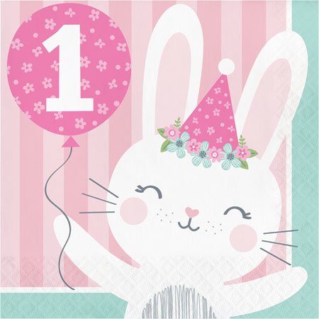 1st Birthday Bunny 1st Birthday Lunch Napkins 16pk