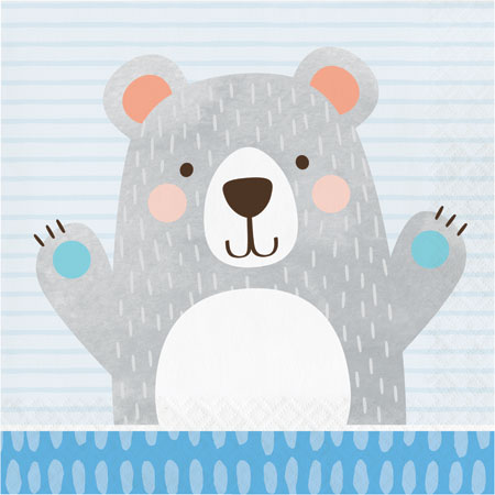 1st Birthday Bear Lunch Napkins 16pk