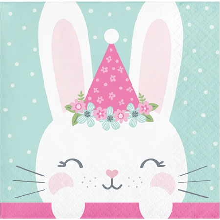 1st Birthday Bunny Hats Beverage Napkins 16pk