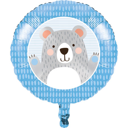 1st Birthday Bear 18in Metallic Balloon